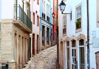Old and narrow street of Coimbra city in Portugal