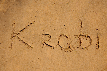 Inscription on the sand krabi