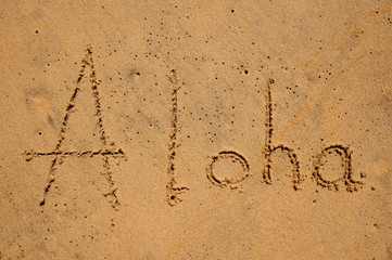 Inscription Aloha on sandy beach