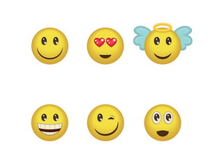 A set of fun positive emoticon expressions. Smile, wink, angel, surprised, in love, laugh smileys included.