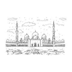 Sheikh Zayed Grand Mosque in Abu Dhabi, UAE. Vector hand drawn sketch