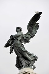 architecture of the city, a monument to an angel on a bridge in Rome, Italy near the Vatican