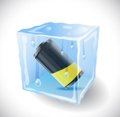 Ice cube with battery.  Illustration 10 version