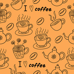 I love coffee seamless pattern. Coffee, cups and teapots