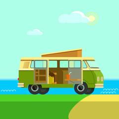 classic Camper Van journey sunny day