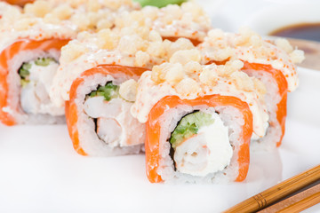 Japanese sushi salmon and crab meat with sauce (shallow DOF)