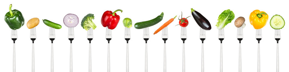 Aluminium Prints Vegetables row of tasty vegetables on forks isolated on white background