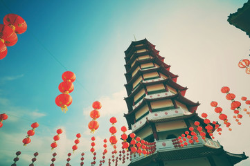 Vintage and retro style pagoda and chinese new year lanterns with filter and vignette effect