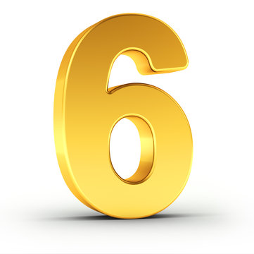 The number six as a polished golden object with clipping path