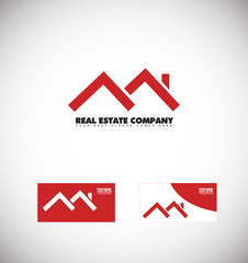 Real estate red house roof logo