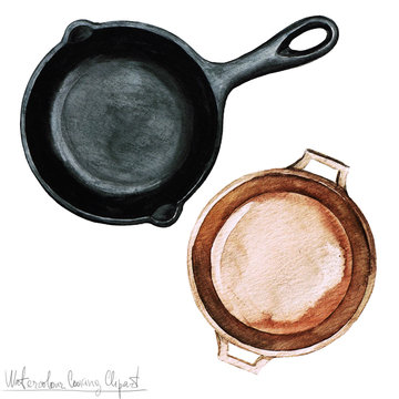 Watercolor Cooking Clipart - Pots and Pans