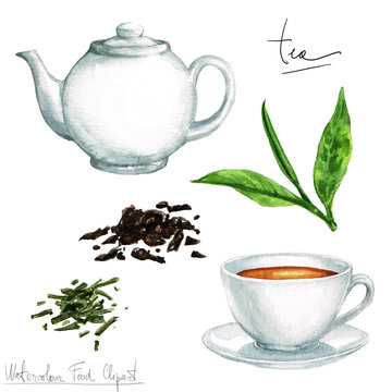 Watercolor Cooking Clipart - Tea