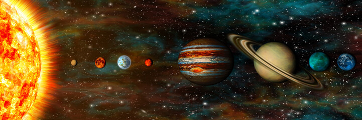 Wall Mural - Solar System, planets in a row, ultrawide