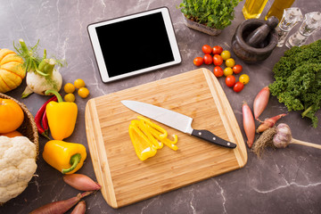 Tablet in kitchen for food recipe