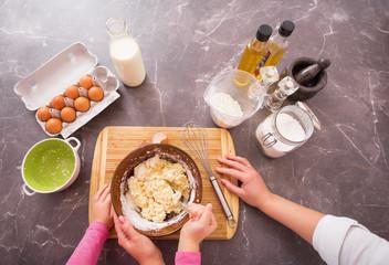 Making dough for baking