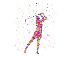 Golf Player Silhouette Graphics Logo
