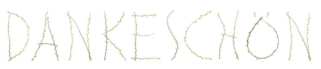 Dankeschön Zweige mit Blättern