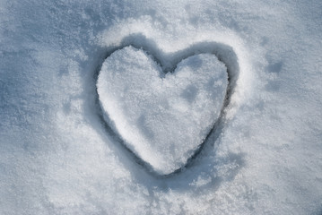 A big heart in the snow
