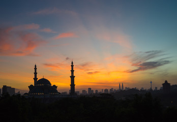 KUALA LUMPUR, MALAYSIA - 31ST JANUARY 2016; The Federal Territory Mosque  is one of the major mosque in Kuala Lumpur, Malaysia. The mosque's design is a blend of Ottoman and Malay architectural styles