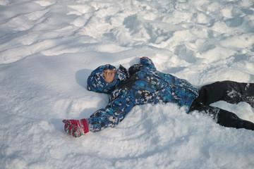 Boys playing at snow