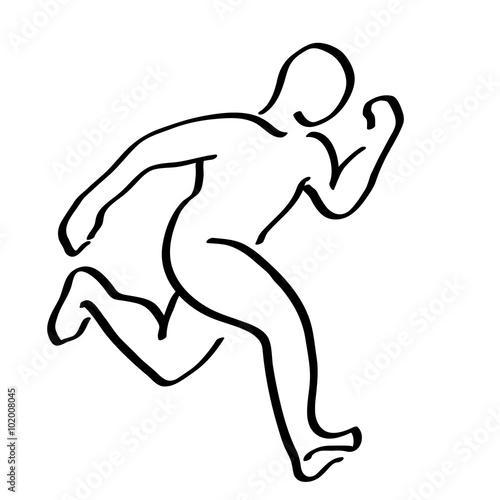 Abstract Running Man Symbol Winner Runner Logo Illustration Mo
