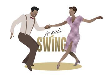 Elegant couple dancing swing. Je suis swing (I'm swing)