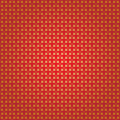 Love abstract background. Red background with gold hearts on the grid.