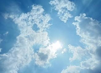 Aluminium Prints Heaven Sun on cloudy sky