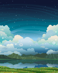 Night landscape - lake, grass, mountains.