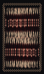 Tarot cards - back design. Indian culture. Pattern on fabric, Hu