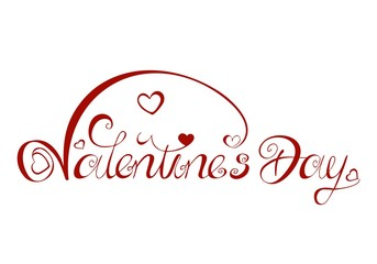 Valentines Day lettering beautifully squiggled romantic swinging with heart and kringle red white