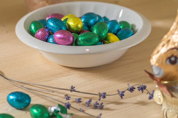 easter eggs and a chocolate rabbit