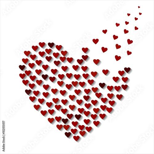 herz aus herzen rot wei poster ornament element heart. Black Bedroom Furniture Sets. Home Design Ideas