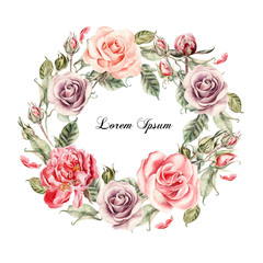 Beautiful watercolor card with Peony, roses flower.
