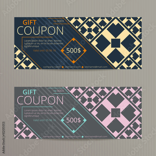 Gift voucher with elegant retro design. Gift card template. Coupon ...