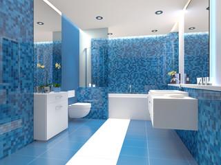 Illustration: Badezimmer Trend Blau Weiß Weiss modern