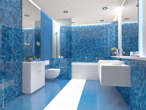 Attraktiv Badezimmer Trend Blau Weiß Weiss Modern