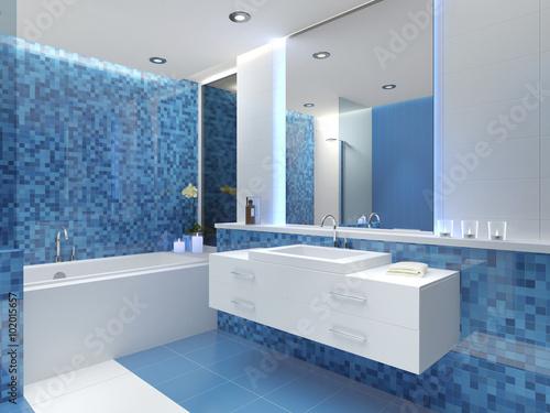 Bad Badezimmer Waschbecken Badewanne Mosaikfliesen Fliesen