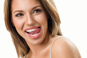 Funny woman with perfect teeth