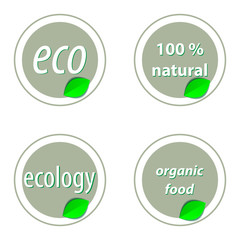Set of bright green labels with leaves for organic, natural, eco or bio products. Vector illustration