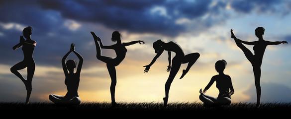 Donne silhouette fitness allenamento yoga