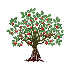 Old Tree with Green Leafs, Roots and Red Apples. Vector Illustration
