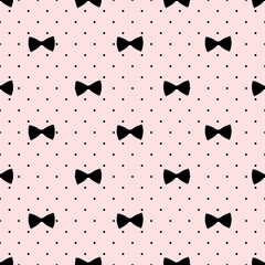 Seamless bow pattern on polka dots background. Cute fashion illustration. Decorative baby shower background.