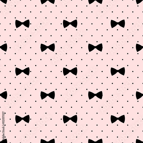 2828c4152 Seamless bow pattern on polka dots background. Cute fashion ...