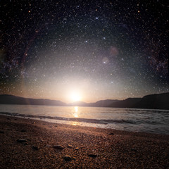 sunrise sea on the star and sky background . Elements of this image furnished by NASA