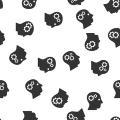 Intellect Seamless vector repeatable pattern. Style is flat gray symbols on a white background.