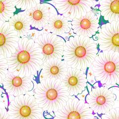 Daisy floral seamless pattern. Vector art illustration.  EPS 10