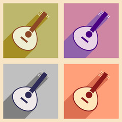 Modern flat icons collection with long shadow Indian musical instrument