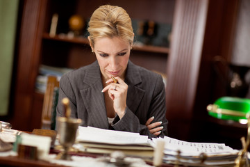 Lawyer or bankar or businesswoman  working in office