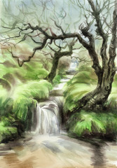 Beautiful creek in fairy forest among fresh green hills, watercolor painting.